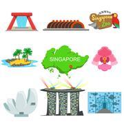 Singapore Touristic Symbols Collection Stock Illustration
