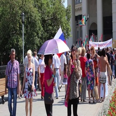 Russia, Moscow, 22 August 2016 demonstration in the square on the day Russian Stock Footage