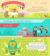 Italy National Festivals in Flat Style Design Stock Illustration