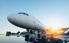 Plane at the airport. daylight. Business and travel concept. 3d rendering. Stock Illustration