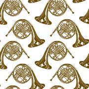 French horns pattern Stock Illustration