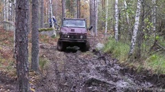 Off-road driving with an old military vehicles Stock Footage