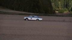 Swedish Volvo race run on a stubble field Stock Footage
