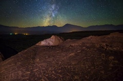 5K MoCo Tracking Astro Timelapse of Galaxy & Native American Petroglyphs  Stock Footage