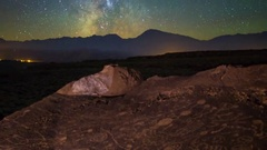 MoCo Tracking Astro Timelapse of Galaxy & Native American Petroglyphs -Zoom Out- Stock Footage