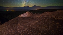 MoCo Tracking Astro Timelapse of Galaxy & Native American Petroglyphs -Zoom In- Stock Footage