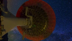 MoCo Astro Timelapse of Milky Way over 40m Radio Telescope -Vertical- Stock Footage