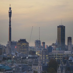 London skyline at dusk with the BT Tower Stock Footage