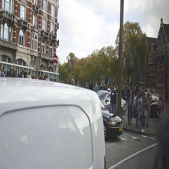 Amsterdam, Netherlands - tram traffic on street, view from tram Stock Footage