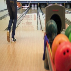 Girl throws ball in bowling. 4k Stock Footage