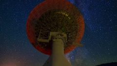 MoCo Astro Timelapse of Milky Way over 40m Radio Telescope -Zoom Out- Stock Footage