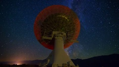 MoCo Astro Timelapse of Milky Way over 40m Radio Telescope -Zoom In- Stock Footage