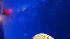MoCo Astro Timelapse of Milky Way thru Radio Observatories -Vertical- Stock Footage