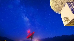 MoCo Astro Timelapse of Milky Way thru Radio Observatories -Zoom Out- Stock Footage