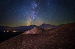 5K MoCo Pan Astro Timelapse of Milky Way over Native American Petroglyphs  Stock Footage