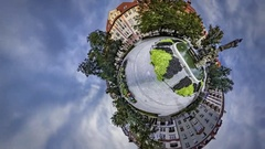 Little Tiny Planet 360 Degree Statue in Park Fountain All Saints' Day Beautiful Stock Footage