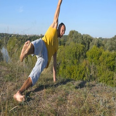 Young man standing at yoga pose at nature. Healthy active lifestyle. Close up Stock Footage