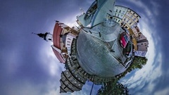 Little Tiny Planet 360 Degree Market Square Opole Old Catholic Church Cityscape Stock Footage