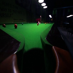 Footage of a man trying to make a point at snooker, he missed the hole Stock Footage