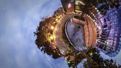 Little Tiny Planet 360 Degree Crowded Evening Square in Opole Modern Glass Stock Footage