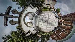 Little Tiny Planet 360 Degree Cathedral Courtyard Opole People Walk Through the Stock Footage