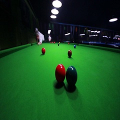 Footage of a snooker player hitting the ball Stock Footage