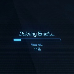Deleting Emails on Computer Screen Futuristic Modern Interface with Bl Stock Footage