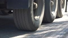 Truck on reconstruction asphalt road Stock Footage