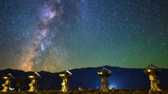 Astro Timelapse of Milky Way over Array of Radio Observatories -Zoom Out- Stock Footage