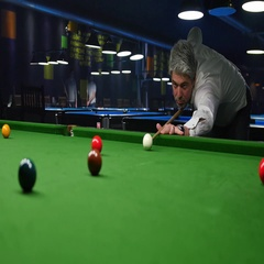 A young man playing snooker, he tries to make a point Stock Footage