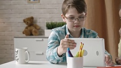Laughing Little Kids with Tablet Stock Footage