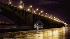 Road bridge over Yenisei River in the Russian city of Krasnoyarsk at the night Stock Footage