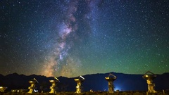 Astro Timelapse of Milky Way over Array of Radio Observatories -Pan Right- Stock Footage