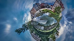 Little Tiny Planet 360 Degree Opole Venice Smooth River Sunny Day Excursion by Stock Footage