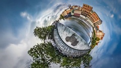 Little Tiny Planet 360 Degree Opole Venice Sunset Water Flows Time is Flying Stock Footage
