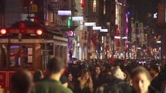 Istanbul istiklal street nightwalking Stock Footage