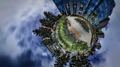 Little Tiny Planet 360 Degree Modern Hypermarket Opole Sights Park is Around Stock Footage