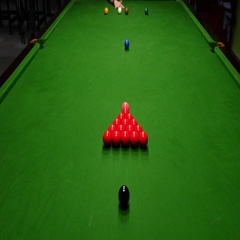 High angle shot of a snooker player breaking the balls at a snooker game Stock Footage