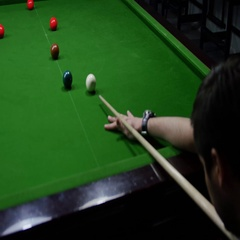 Footage of a snooker player´s shot Stock Footage