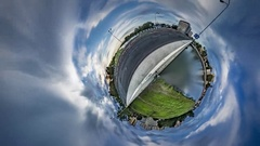Little Tiny Planet 360 Degree View of Opole Nature Cityscape Water Cloudscape Stock Footage