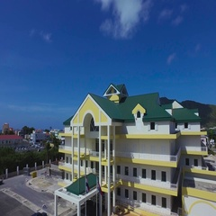 4K aerial at Great Bay Town, St Maarten, Okt 2016 Stock Footage