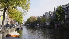 Canal in Amsterdam, Amstel, Holland, Netherlands Stock Footage