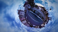 Little Tiny Planet 360 Degree Double Bridge Opole Sights People in Hurry Time Stock Footage