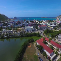 4K aerial overview of Great Bay Town, St Maarten, Okt 2016 Stock Footage