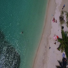 Aerial looking straight down at La Galion beach, St maarten, Okt 2016 Stock Footage