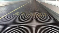 Standing area on moving escalator in airport 4k Stock Footage