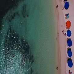 Aerial looking sraight down at La Galion beach, St maarten, Okt 2016 Stock Footage
