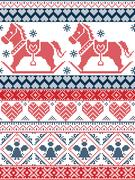 Christmas pattern with rocking horse in red and dark blue Stock Illustration