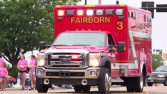 Emergency vehicle for Fairborn Fire Department in parade 4k Stock Footage