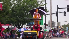 Ronald McDonald in July 4th Parade of Fairborn Ohio 4k Stock Footage